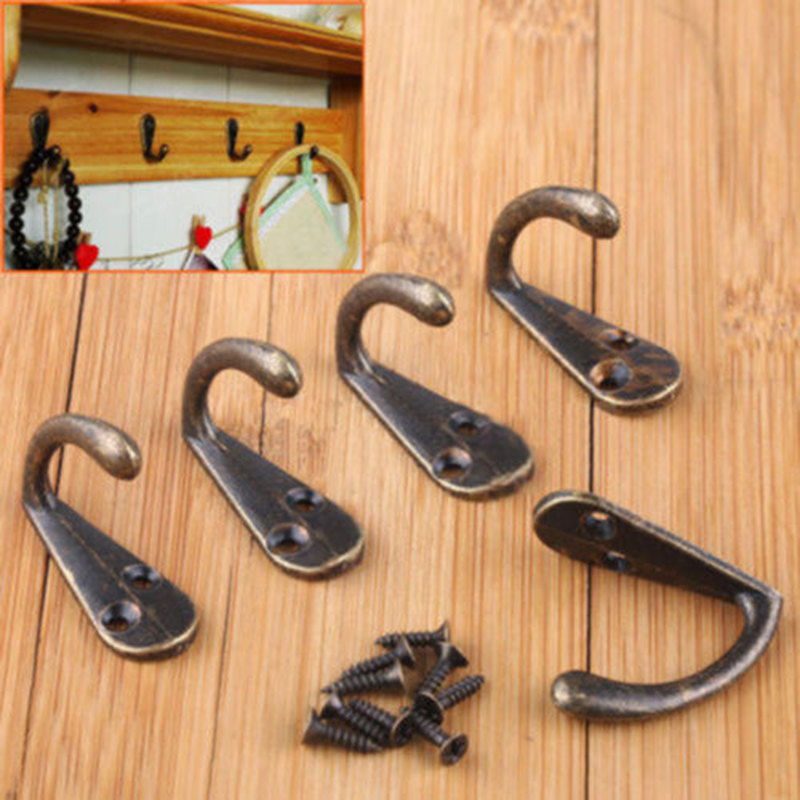 10pcs Cloth Hook Hangers Vintage Bronze Wall Hook Rustic Key Coat Bag Hat Hanger Rustic Robe Hooks Wall Hanging Hooks Coat Rack