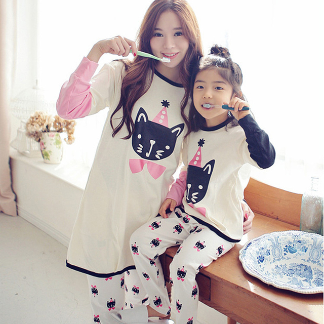 11c28001f Nuevo llega pijamas familia madre e hija familia mirar ropa mamá y yo pijama  ropa mama