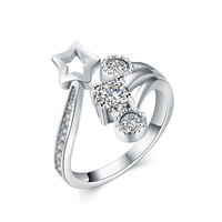 XU 925 Sterling Silver Star Rings Opening Women S Fashion Zircon Inlaid Engagement Rings Wedding Anniversary