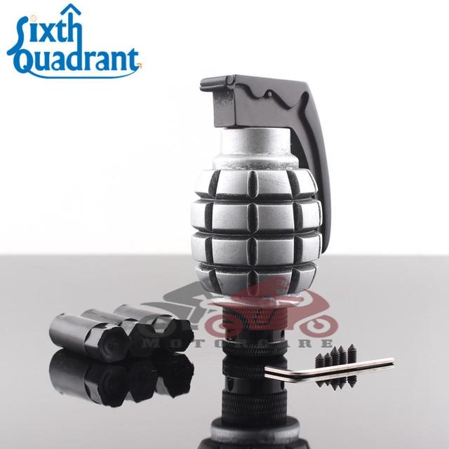 silver grenade shape car truck manual stick gear shift knob lever