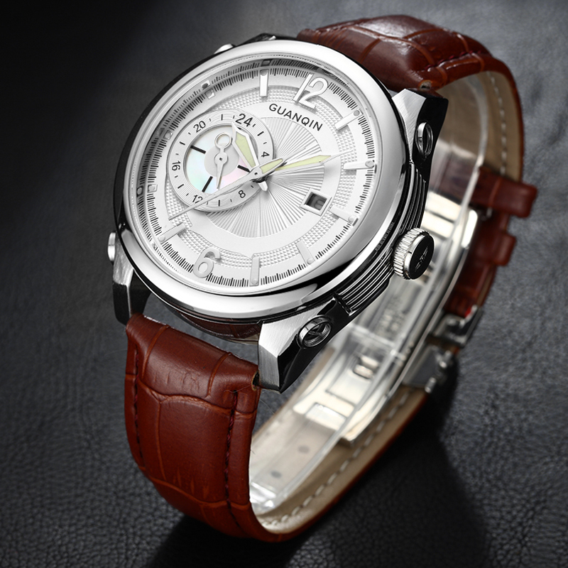 GUANQIN Top Brand Men Watches Leather Strap Big Dial Men's Sports Watch Waterproof 24 Hour Date Clock Male Quartz Wrist Watch longbo men military watches complex big dial leather strap wristwatch male outdoor sports quartz watch life waterproof uhren men
