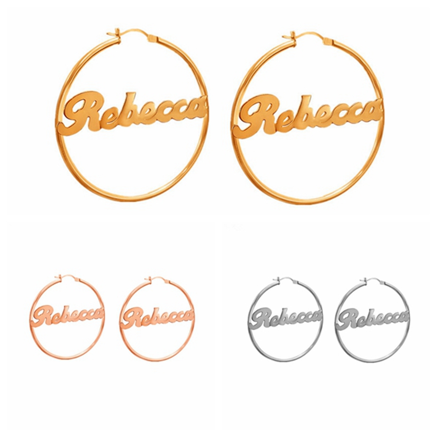 1 Pair Stainless Steel Custom Name Earrings Personalized Big Nameplate Handmade Jewelry For Women Girls Round Circle Oorbellen