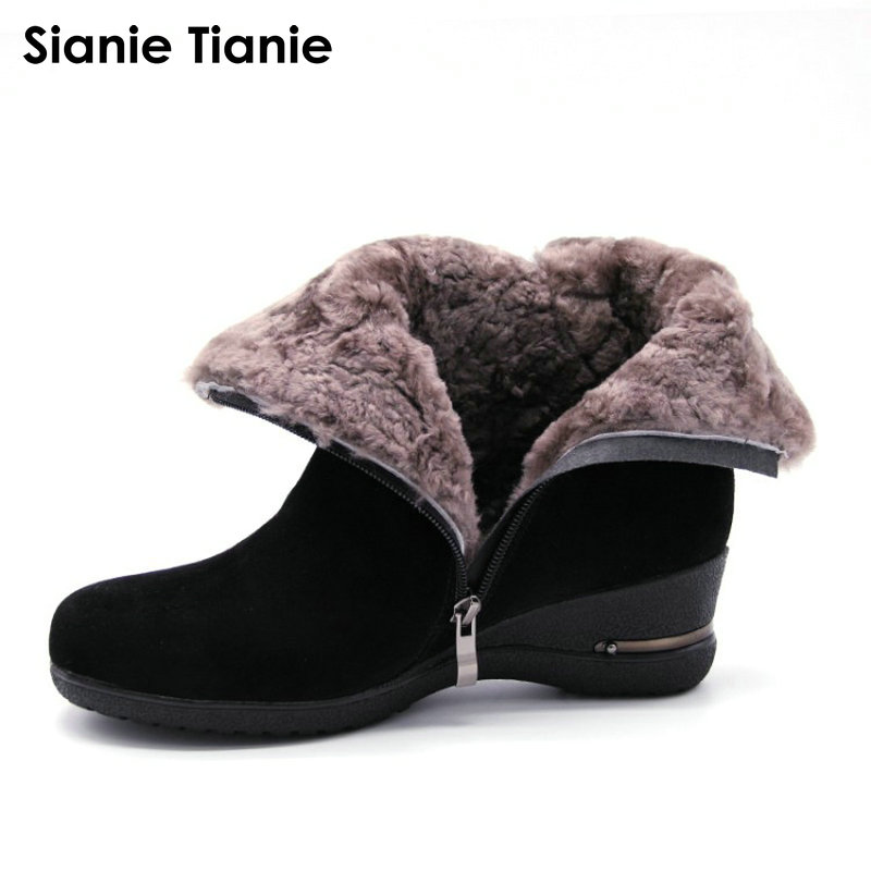 2018 Winter New Warm Wool Fur Ankle Boots Genuine Wool Full Grain Leather Long Plush Snow Boots Women High Quality Wedges Shoes bacia winter boots for women full grain leather boots heels 5 8cm wool fur