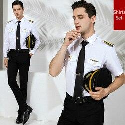 Футболка с пилотом, популярный бренд, Повседневная рубашка, набор, для мужчин, приталенная, мужская, короткий, длинный рукав, хлопок, Униформ...