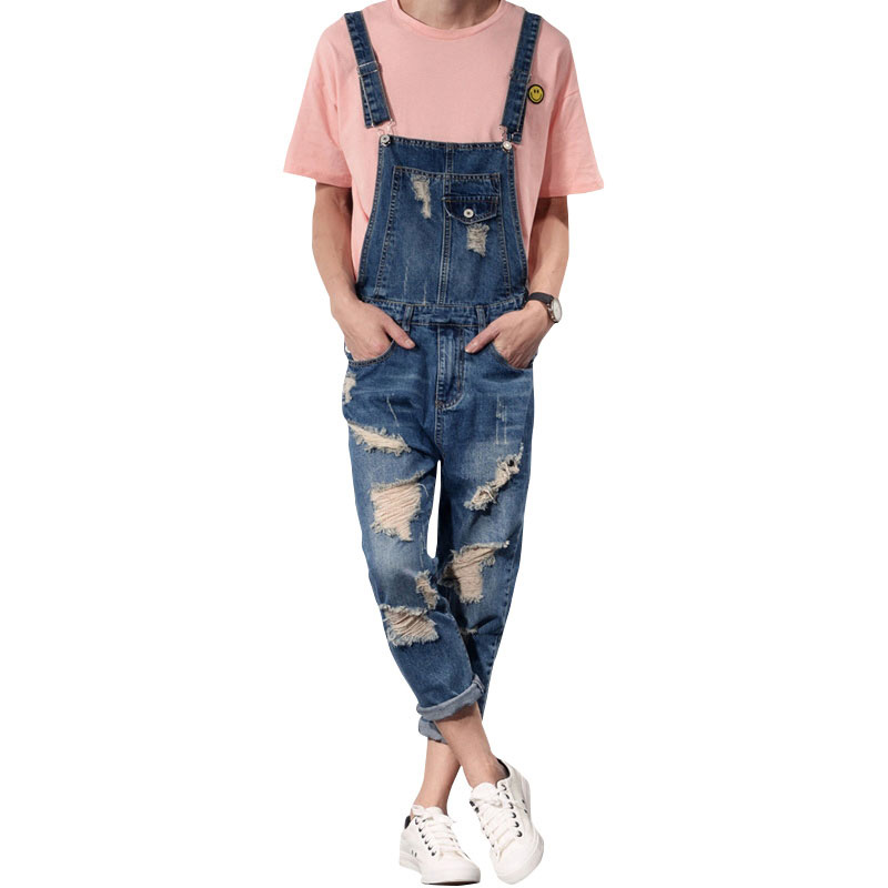 2019 New Mens Bib Overalls Fashion Ankle Length Denim Overalls Men Ripped Jeans Male Denim Jumpsuit Tooling Trousers Size  S-6xl