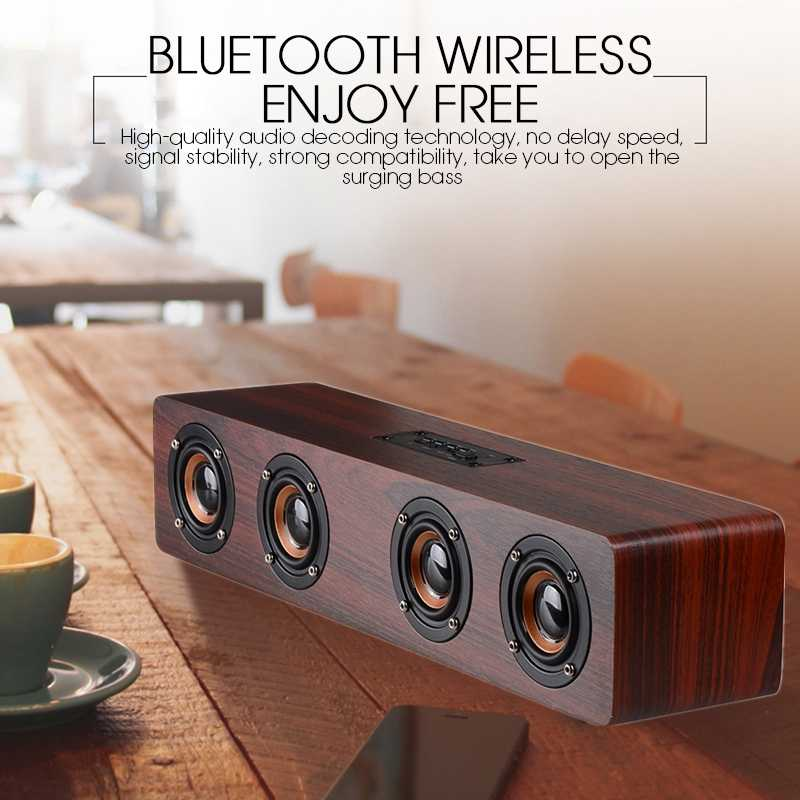 Fdgao HI FI Wireless Bluetooth Speaker Kayu Portabel Bass Soundbar TV Suara Bar Subwoofer Loudspeaker Kolom untuk Home Theater