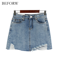 BEFORW Summer Holes Washing Cowboy Skirt All Purpose Style A Line Irregular Denim Skirt Fashion Leisure