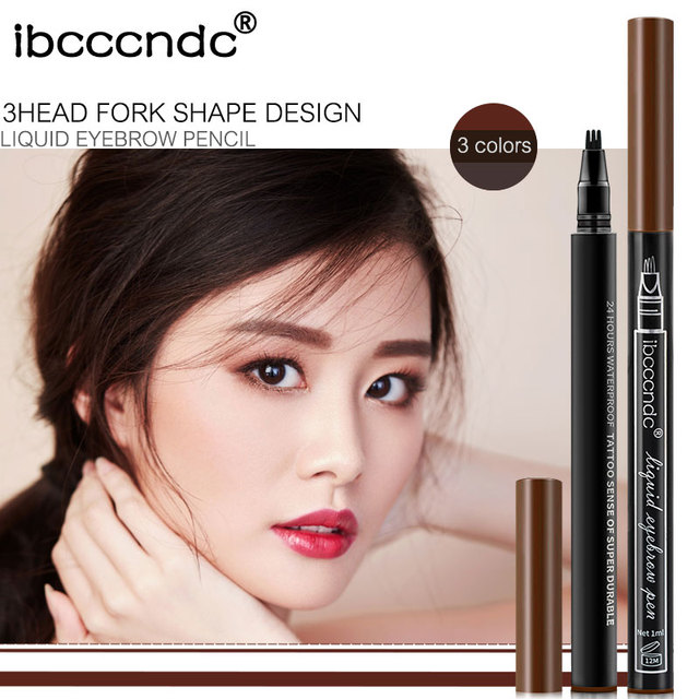 Microblading Eyebrow Tattoo Pen Fine Sketch 3 Head Liquid Eyebrow Pen Waterproof Tattoo Eye Brow Pencil 3