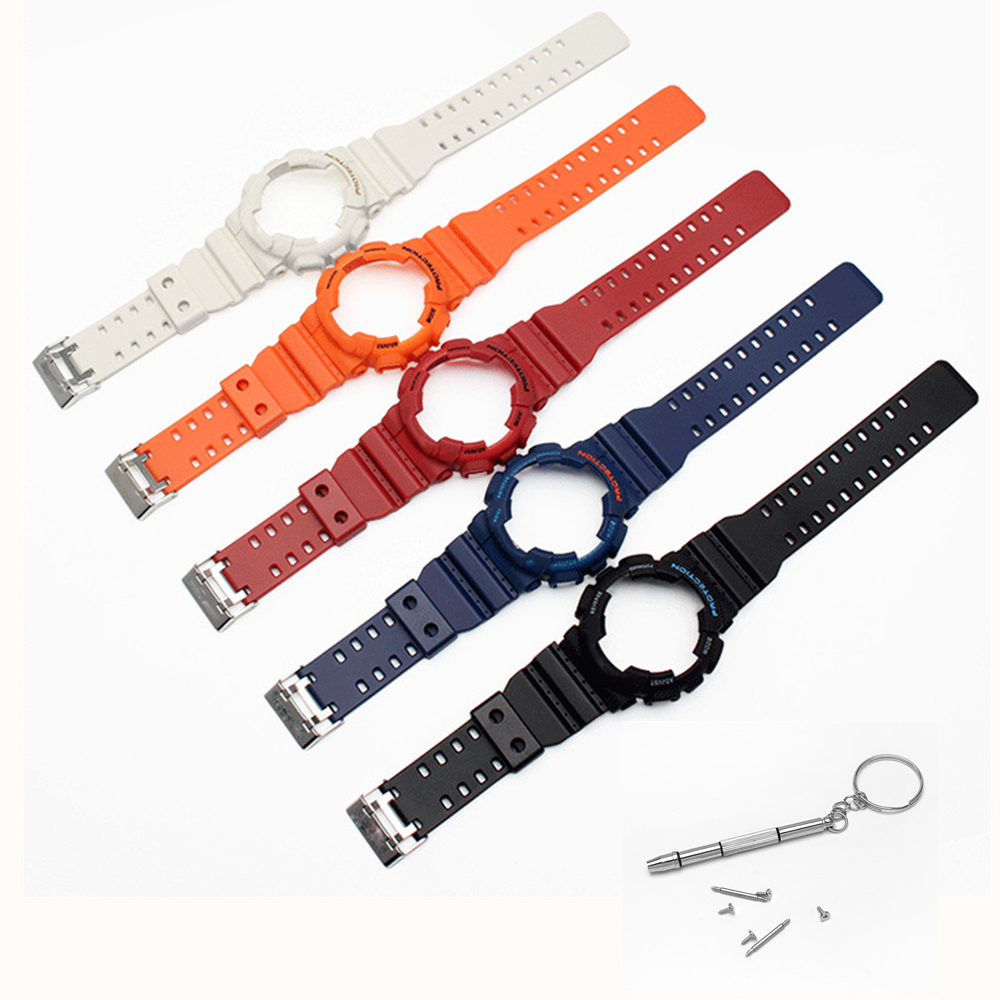 Replacement Watchband For Casio GA-120 GA-100 GA-110 Series Watch Strap With Logo Silicone Rubber Watch Band Strap Watchcase