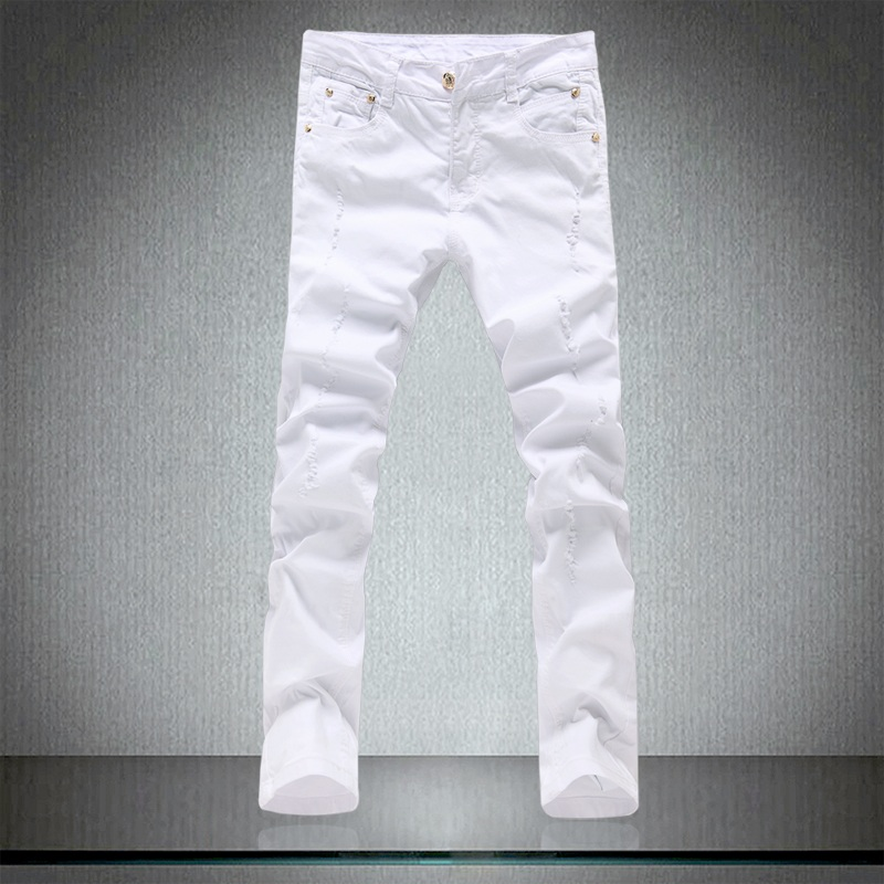 2018 Spring Men's Tight Pure White Jeans Male , Men's Skinny Trousers , High Quality Cotton Elastic Hole Slim Leisure Pants Men