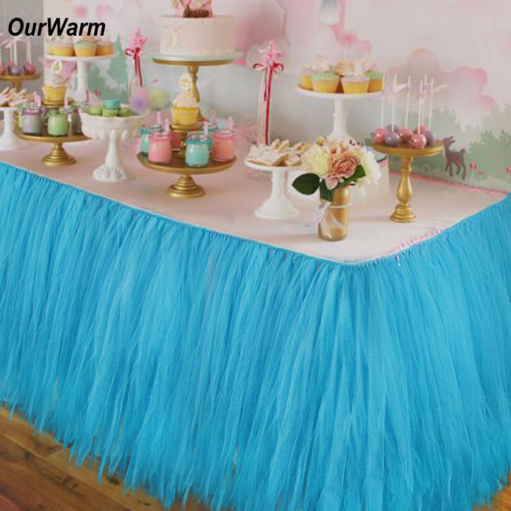 Ourwarm 10pcs DIY Table Skirting Customize Handmade Tulle Tutu Table Skirt Wedding Decoration Baby Shower Party Supplies Pink