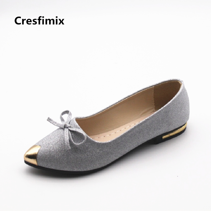 Cresfimix women fashion silver bling flat shoes lady casual spring summer slip on flats female sexy pu leather shoes zapatos cresfimix zapatos de mujer women fashion pu leather slip on flat shoes female soft and comfortable black loafers lady shoes