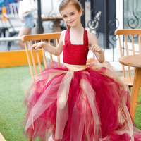 Purplish Red with Gold Belt Long Tail Lace Gown Ball Custom Sleeveless Handmade Wedding Flowers Girl Princess Performing Dresses