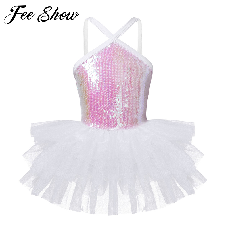 Kids Girls Sleeveless Halter Sequins Ballet Dance Gymnastics Leotard Tutu Dress for Children's Dancewear Ballerina Fancy Costume цена