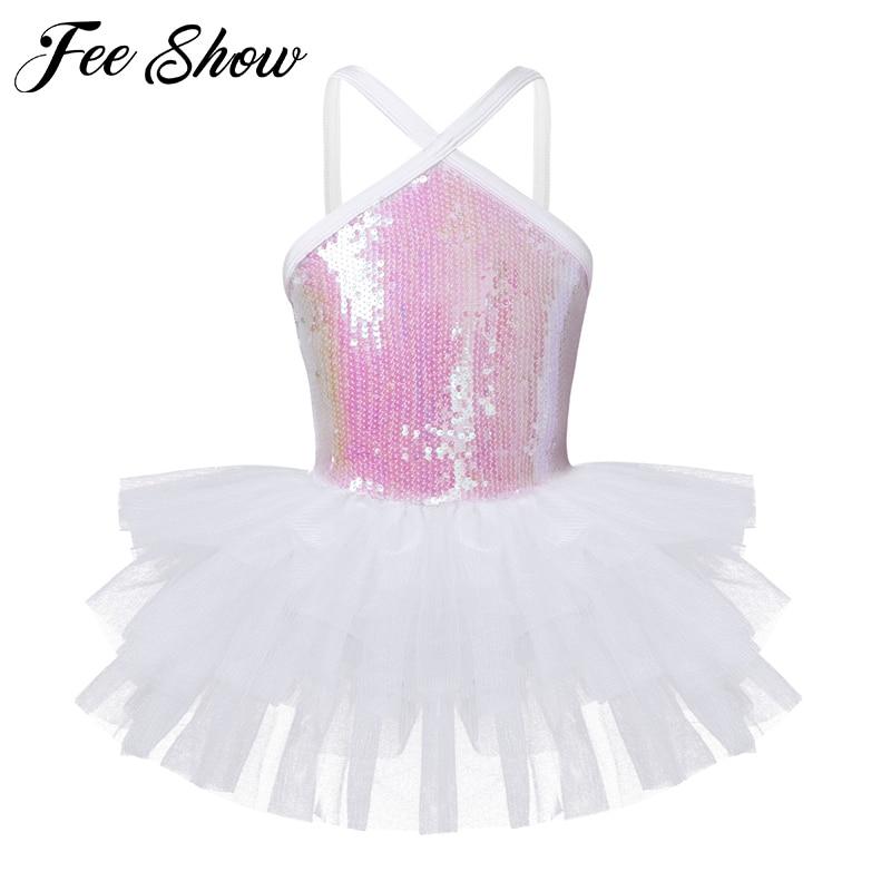 5efa26676be6 Kids Girls Sleeveless Halter Sequins Ballet Dance Gymnastics Leotard Tutu  Dress for Children's Dancewear Ballerina Fancy Costume