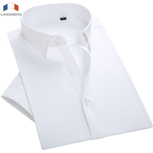 langmeng plus size 7XL men shirt short sleeve solid color work ...