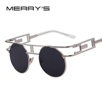 MERRY'S Fashion Women Brand Designer Unique Gothic Sunglasses Metal Frame Steampunk Men Sunglasses Oculos de sol UV400