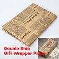 Jornal Decoração Wrapping Paper Envoltório Do papel de embrulho Dupla Face Decoração Da Festa de Natal de Papel Kraft Do Vintage