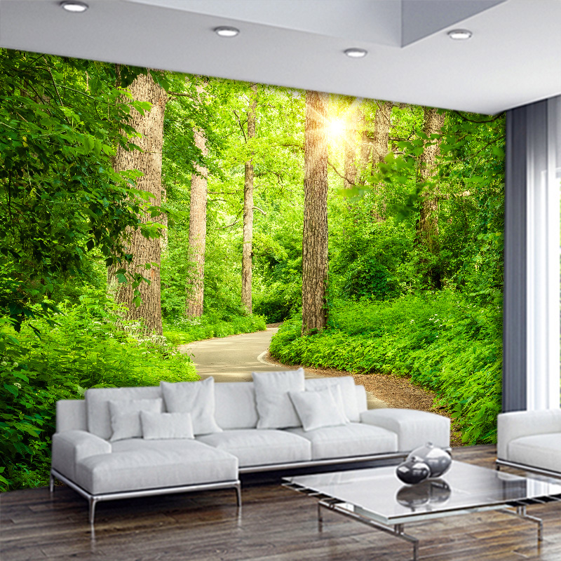 wallpaper 3d 3d stereo tree path Landscape Wallpapers Living room sofa TV background mural modern bedroom bedside wallpaper rose bead curtain large mural 3d wallpaper living room bedroom 3d wallpaper painting tv background stereo 3d wallpaper