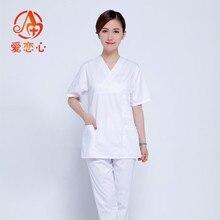 Ailianxin- White Medical Scrub Sets Hospital Uniforms Doctors Suits Surgical Clothes Uniform Fashion Lab Coat sets