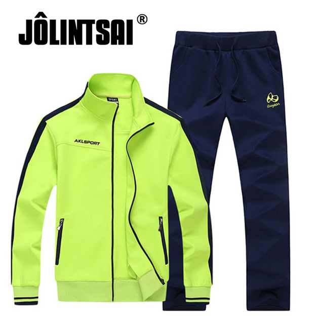 Jolintsai Brand Clothing Set Men Casual Zipper Letter Print Tracksuits Men Hoodie Sweatshirt +Pant 2 Pieces Set Plus Size M-3XL