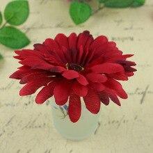 9 cm/4in Yapay Simülasyon kumaş Afrika Papatya Çiçek Kafaları şapkalar Scrapbooking Çiçek Öpücük Topu Düğün Için