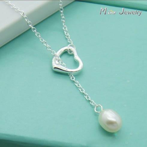 Высокое качество 925 Серебряные ожерелья сердце жемчужина Подвески Ожерелья для мужчин Ц ...