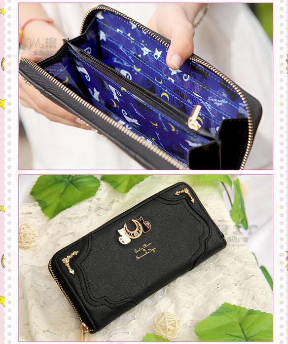 New 1 Piece Samantha Vega Sailor Moon Wallet Lady Long Wallet Purse Female Black White Color Cat PU Leather For Coin Card Clutch