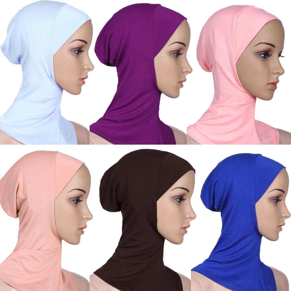 2020 Popular Soft Muslim Bonnet Full Cover Inner Women's Ladies Hijab Headscarf Wraps Cap Islamic Underscarf Neck Head Hat