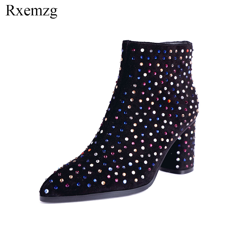 Rxemzg fashion rhinestone party shoes boots women designer pointed toe cow suede footwear women high heel ankle boots for womenRxemzg fashion rhinestone party shoes boots women designer pointed toe cow suede footwear women high heel ankle boots for women