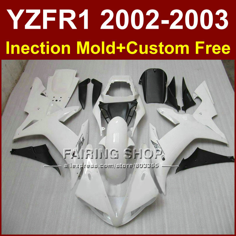 Hot sale white custom fairing for YAMAHA bodywork YZF1000 02 03 YZF R1 2002 2003 yzf r1 body parts Aftermarket +7gifts