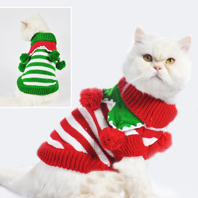 cat sweaters dog christmas sweater rainbow stripe pets knitted clothes 3 colors xxs l