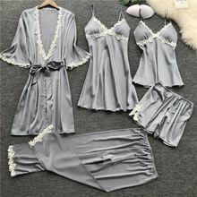 5Pcs Fashion Women Sexy Lingerie Lace Pajamas Set Night set Elegnat Nightdress Sleepwear Night Suit PJ Set pyjama femme