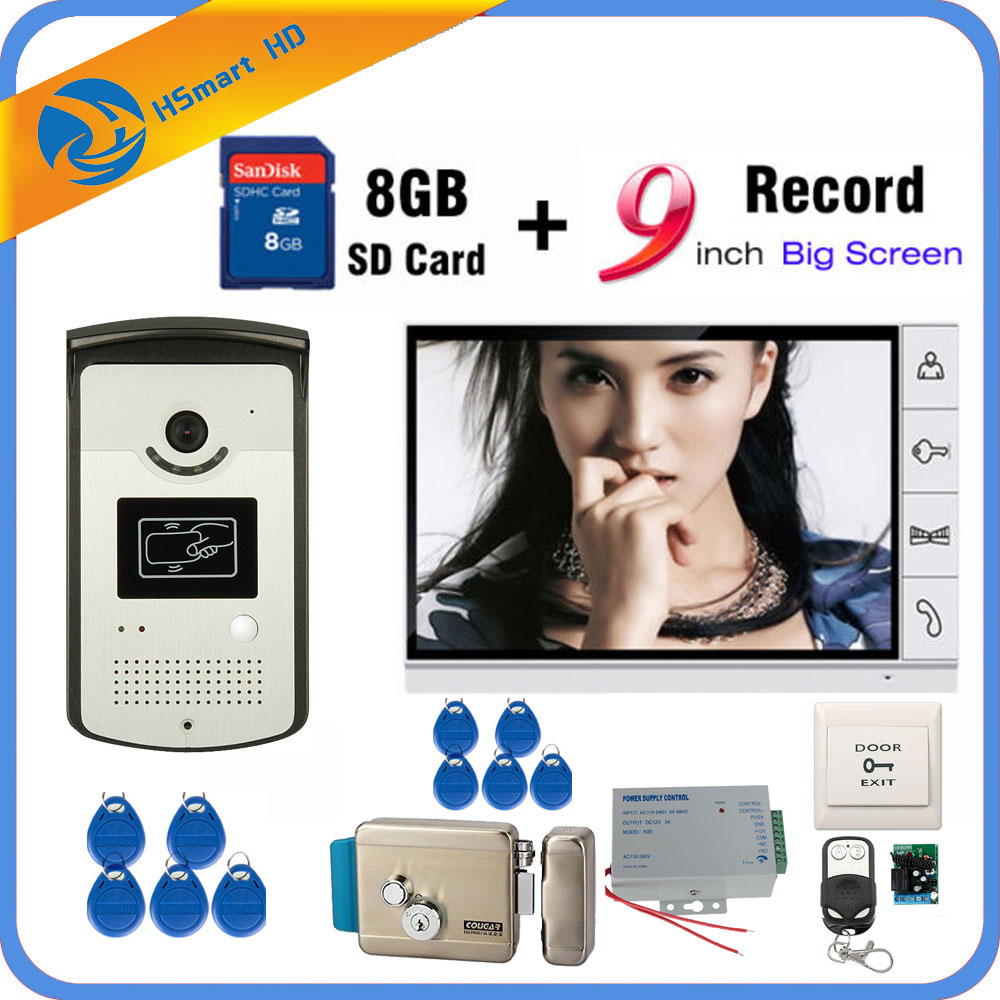 9 inch Video Door Phone Intercom Entry System 1 Monitor + RFID Access IR 700TVL Camera+Electric Lock add 8GB Card Video Record jeruan 7 video door phone record intercom system 3 monitors 700tvl rfid access ir night vision camera electric drop bolt lock