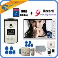 9 inch Video Door Phone Intercom Entry System 1 Monitor + RFID Access IR 700TVL Camera+Electric Lock add 8GB Card Video Record