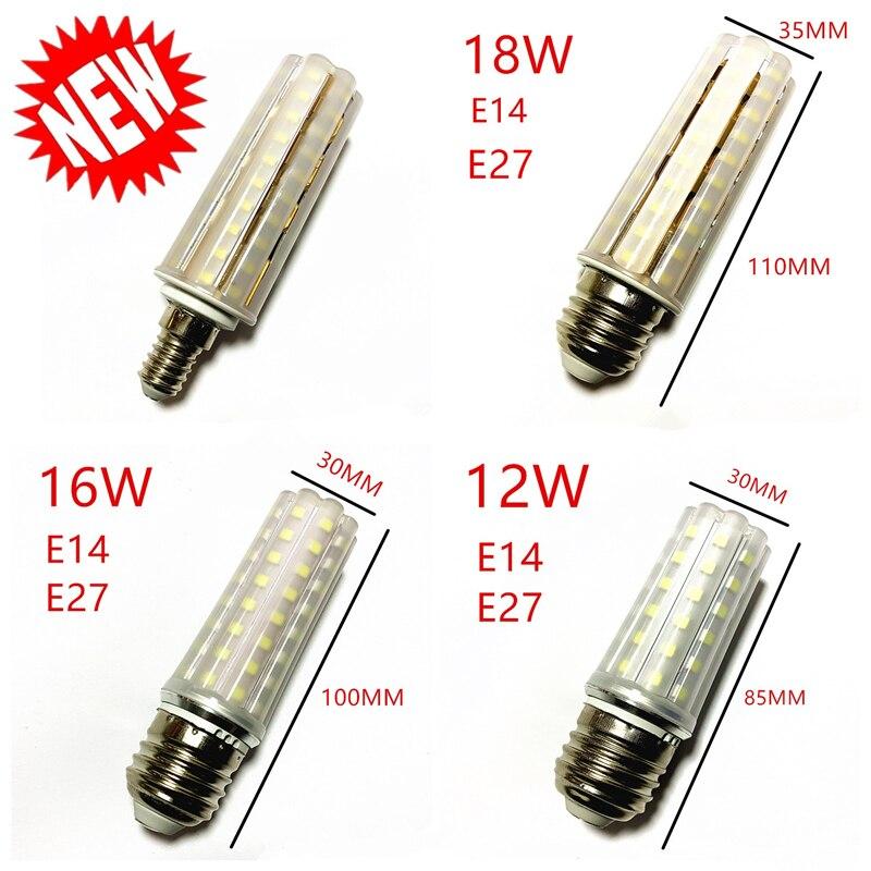 Nueva bombilla E14 E27 LED lámpara de doble Color SMD2835 12W 16W 18W 220 V/AC bombilla de maíz luz tipo maíz para araña blanco cálido LUCKYLED luz LED moderna de pared espejo de Baño Luz 9W 12W AC 90-265V lámpara de pared impermeable