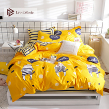 Liv-Esthete Cute Cartoon Yellow Bedding Set High Quality Soft Duvet Cover Pillowcase Bed Linen Fitted Sheet For Adult Kids Gift
