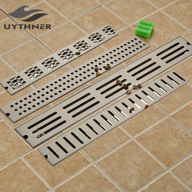 Uythner New Euro Style Nickle Brushed 90*10 CM Deodorization Grill Waste Bathroom Shower Floor Drain