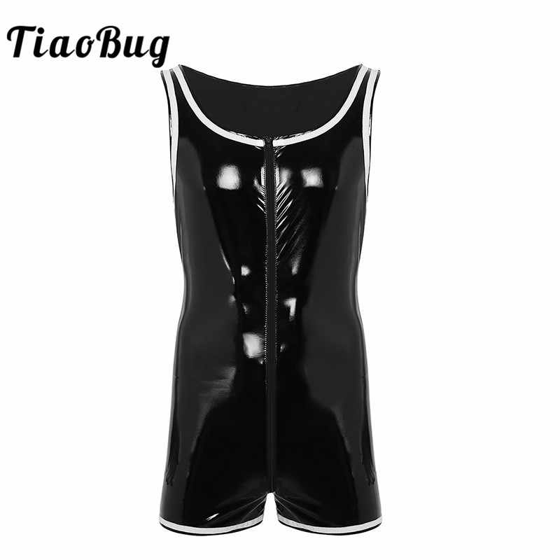 TiaoBug Men Black Wet-look Patent Leather Sleeveless Zipper Bodybuilding  Shaper Boxer Corset Hot Sexy