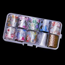 10 Sheets(=10 Colors) x New Nail Art Transfer Foil Decal Stickers Flower Glue Manicure