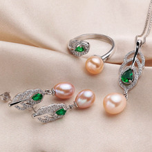 Natural Pearl Set High Quality Silver Necklace Earrings Ring
