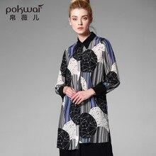 POKWAI Long Casual Silk Shirts Women Tops 2017 Brand Quality Full Sleeve Blouse Stand Collar Undies Overshirt Print Ladies Tops