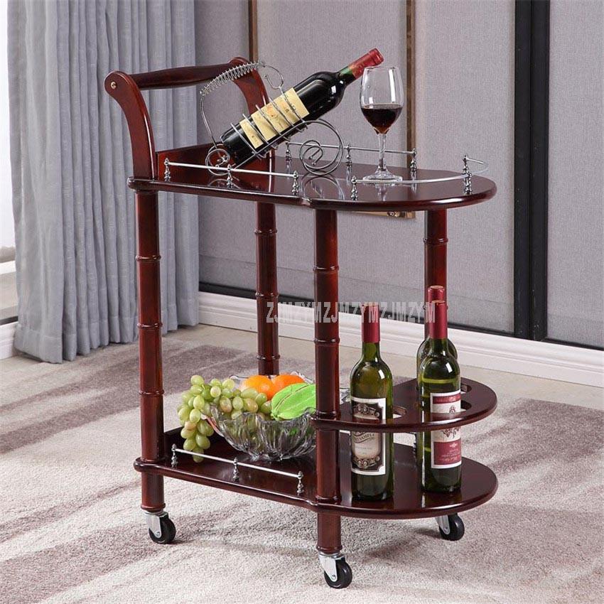 Carrito de comedor de Hotel de 86cm con ruedas mesa de madera de doble capa carrito para vino salón de belleza carrito de cocina soporte lateral muebles de Hotel - 2