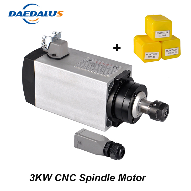 Free Shipping 3KW Spindle ER20 Air Cooled Spindle Motor 220V 380V CNC Milling Motor Four Bearings For Engraving Machine Tools free shipping cnc spindle 2 2kw 220v 110v air cooled spindle motor machine 80mm er20 collet router tools for milling