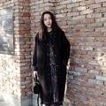 Woman's Thicken Black Button Palto Woolen Maxi Down Coats Autumn Long Warm Jacket Manteau Femmee Korean Cloak Winter Windbreaker