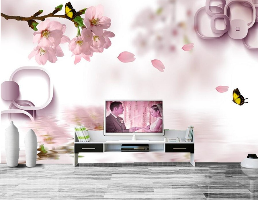 Custom large murals,3D pink peach blossom Butterfly papel de parede, living room sofa TV wall bedroom landscape wall mural custom 3d large mural china style meilanzhuju woodcarving murals papel de parede living room sofa tv wall bedroom wall paper
