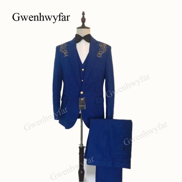 Gwenhwyfar alta calidad oro bordado hombres esmoquin Azul Real Hombre Trajes  negro blanco rojo boda esmoquin e41173a2a4c