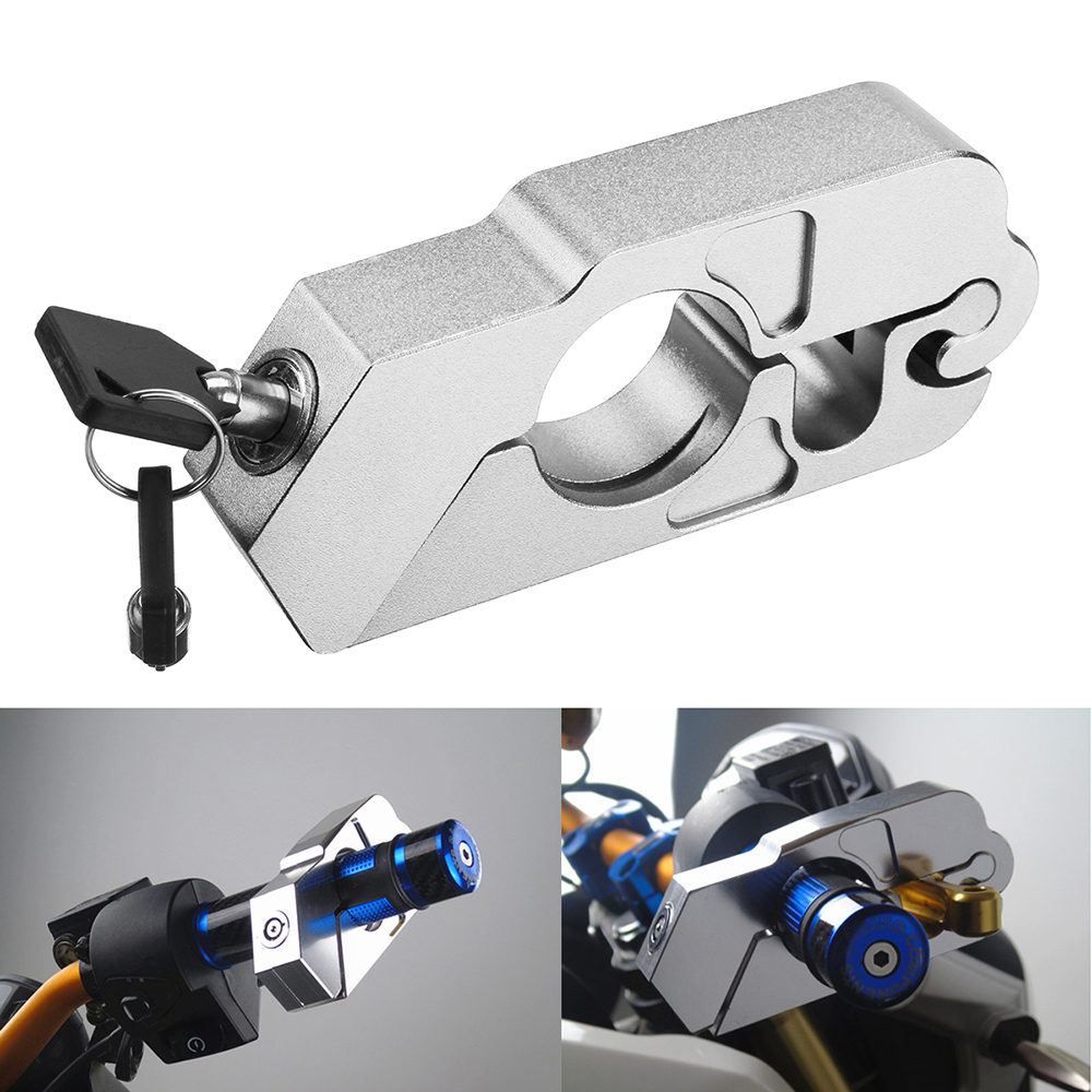 Motorcycle Handlebar Lock Brake Clutch Security Safety Theft Protection Lock With 2 Keys Built-in Stainless Steel Wire