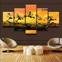 Framework Wall Art Animation Poster 5 Panel One Piece Characters Canvas Painting Modular Pictures For Children Room Home Decor