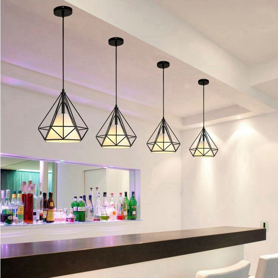 Iron Minimalist Retro Light Modern Black Birdcage Pendant Lights Scandinavian Loft Pyramid Lamp Metal Cage with Led Bulb